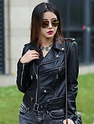 Women's Plaid Black Jackets , Casual Shirt Collar Long Sleeve Rivet