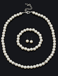 FanXi    Fashion Bride Jewelry Exquisite Pearl Necklace Earrings  Bracelet Three Suit