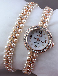 Women's little round crystal dial pearl band quartz bracelet wrist fashion dress  watch Cool Watches Unique Watches