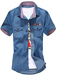 Men's Solid CasualCotton Short Sleeve Blue