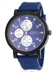 Men's Military Style Black Case Rubber Band Quartz Wrist Watch