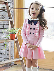Girl's Winter/Spring/Fall Micro-elastic Medium Long Sleeve Dresses (Cotton/Polyester)