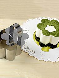 Ferramenta 3''mousse conjunto de forma de flor anel mousse com bolo de empurrar queijo molde de aço inoxidável