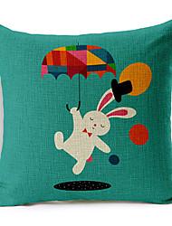 Modern Style Cartoon Rabbit Patterned Cotton/Linen Decorative Pillow Cover