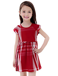 Children Summer Kids Girls Baby Striped Short Sleeve Dresses Clothes