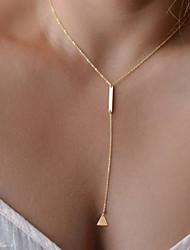 Women's Metal Strip Trigonometry Tassel Short Multilayer Necklace