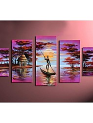 Hand-painted Pink Africa Lake Boat Abstract Landscape Wall Home Decor Oil Painting on Canvas 5pcs/set No Frame