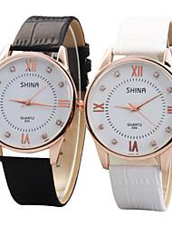 Women's Fashion Watch Casual Watch Imitation Diamond Quartz PU Band Black White
