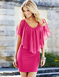 Kaman Women's Sexy/Casual Short Sleeve Dresses (Chiffon/Lycra)