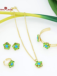 WesternRain Flower Necklace/bangle/earrings /ring Fashion Jewelry For Childrens with Green Stone kids Jewelry Set