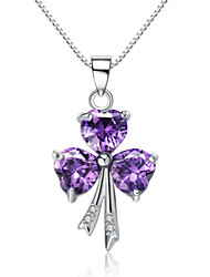 Jazlyn® Authentic Platinum Plated 925 Sterling Silver Purple Heart Clover Cubic Zirconia 1MM Box Chain Women's Necklace
