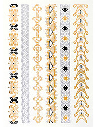 4PCS Flash Tattoo Gold Tattoo Metallic Tattoo Tatouage Temporary Tattoo Sticker Taty Metal Tatoo Fake Tatto