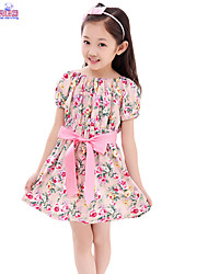 Children Kids Girl Baby Cotton Floral Casual Summer Short Sleeve Dress Clothes