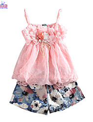 Children Kids Girls Baby Chiffon Floral Summer Sling Top & Shorts 2 Pcs Sets Clothes