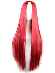 couleur des cheveux longs rouge  cheveux raides à long perruques  de cheveux style de mode d'onde synthétique