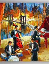 Oil Painting Abstract People  Music Room Painting Hand Painted Canvas with Stretched Framed