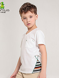 2015 Boy's Summer Striped Cotton White T-shirts Short Sleeve Teen Tees Leisure Sport Children's Clothing Kids Clothes