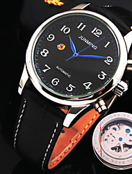 Men's New Explosion Round Dial Mineral Glass Mirror Genuine Leather Band Fashion Mechanical Waterproof Watch