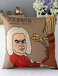Modern Style Cartoon Bach Patterned Cotton/Linen Decorative Pillow Cover