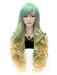 70cm Women's Party Wig Mix Color Light Green and Yellow Curly Heat Resistant Synthetic Lolita Fashion Cool Wig