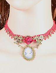 Fashion Red Rose Beauty Head Bowknot  Necklace