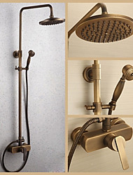 Antique Brass Wall Mounted Single Handle Rain Shower Faucet Set with 8 Inch Shower Head and Hand Shower