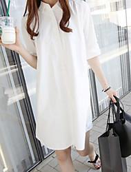 Women's Solid White Shirt , Casual Shirt Collar Short Sleeve