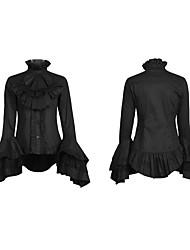 Damen Einfach Lässig/Alltäglich T-shirt Frühling Langarm Weiß / Schwarz Baumwolle Dünn