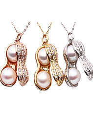 White Gold Rose Plated Pendant Freshwater Pearl Peanuts Pendant Necklace Popular Alloy Necklace
