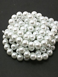 Beadia 2 Str(approx 230pcs) Glass Beads 8mm Round Imitation Pearl Beads White Color DIY Spacer Loose Beads