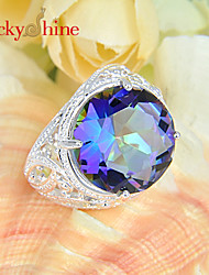 Lucky Shine Women's Men's Unisex 925 Silver Unique Fire Round Colored Mystic Topaz Crystal Gemstone Wedding Rings