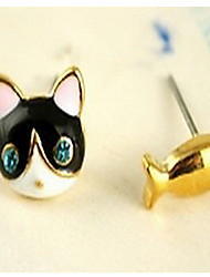 Lovely Cat Fish Blue Diamond Stud Earrings(not include the ring)
