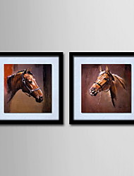 Oil Painting Modern Abstract Horsehead Hand Painted Canvas with Stretched Framed - Set of 2