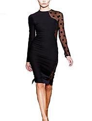 Women's Sexy Micro-Elastic Long Sleeve Knee-Length Dress (Cotton Blends)