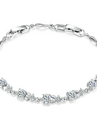 HKTC Noble Princess Simulated Diamond Flower Bracelet 18k White Gold Plated Clear Crystals Jewelry