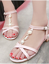 Women's Shoes Faux Leather Flat Heel Mary Sandals Outdoor/Casual Pink/White