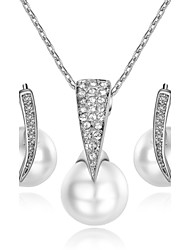 T&C Women's Concise Pearl Jewelry Sets 18K White Gold Plated Use Austrian Crystal Pendant Necklace Earrings Set