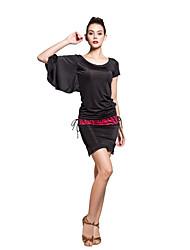 viscose desempenho luva especial asa de morcego assimétrica roupas dancewear latin para senhoras