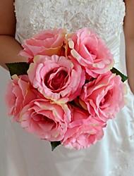 Bouquets de Noiva Redondo / Forma-Livre Rosas Buquês Casamento / Festa / noite Amêndoa / Amarelo / Fúcsia / Rosa / Verde / Roxo / Laranja