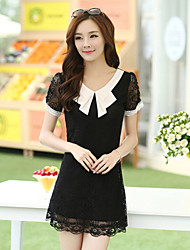 Women's Casual Micro-elastic Short Sleeve Above Knee Dress