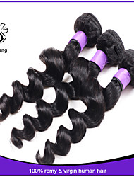 7A Unprocessed brazilian virgin remy hair loose wave human hair natural black color 3pcs lot loose Wave Brazilian Hair