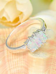cadeaux de famille 3x feu feu carré blanc opale gemme 925 anneaux en argent déclaration de fleurs pour la fête de mariage 1pc casual
