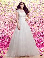 LAN TING BRIDE A-line Princess Wedding Dress Two-in-One Wedding Dress with Wrap Sweep / Brush Train Scoop Lace Tulle with Appliques