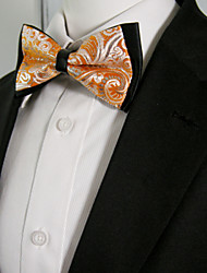 Men's Black Orange Paisley Mens Pre-tied Ajustable SilkBlend Wedding Dress Fashion SilkBlend Bow Tie