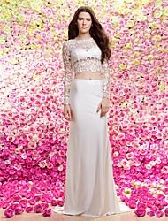 Lan Ting Sheath/Column Wedding Dress - Ivory Sweep/Brush Train Jewel Lace / Knit