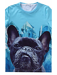 European Style TEE Digital Printing 3D T-shirt Rhinestone Dog Harajuku Sleeved T-shirt