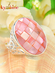 Lucky Shine Women's Men's Unisex 925 Silver Unique Fire Natural Pink Abalone Shell Crystal Gemstone Wedding Rings