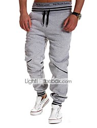 Men's Striped / Solid Casual / Work / Formal / Sport Sweatpants,Cotton / Polyester Black / Blue / White / Gray