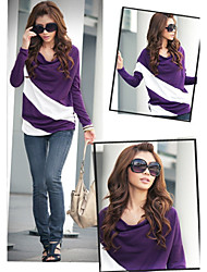 Women's Casual Halter/Twist Long Sleeve Tops & Blouses (Cotton Blend)