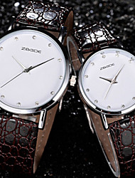 Couple with Rhinestone Round White Plate Waterproof PU Leather Quartz Movement Watch